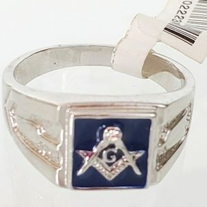 Other - Silver Stainless Steel Masonic Ring Blue Size 14